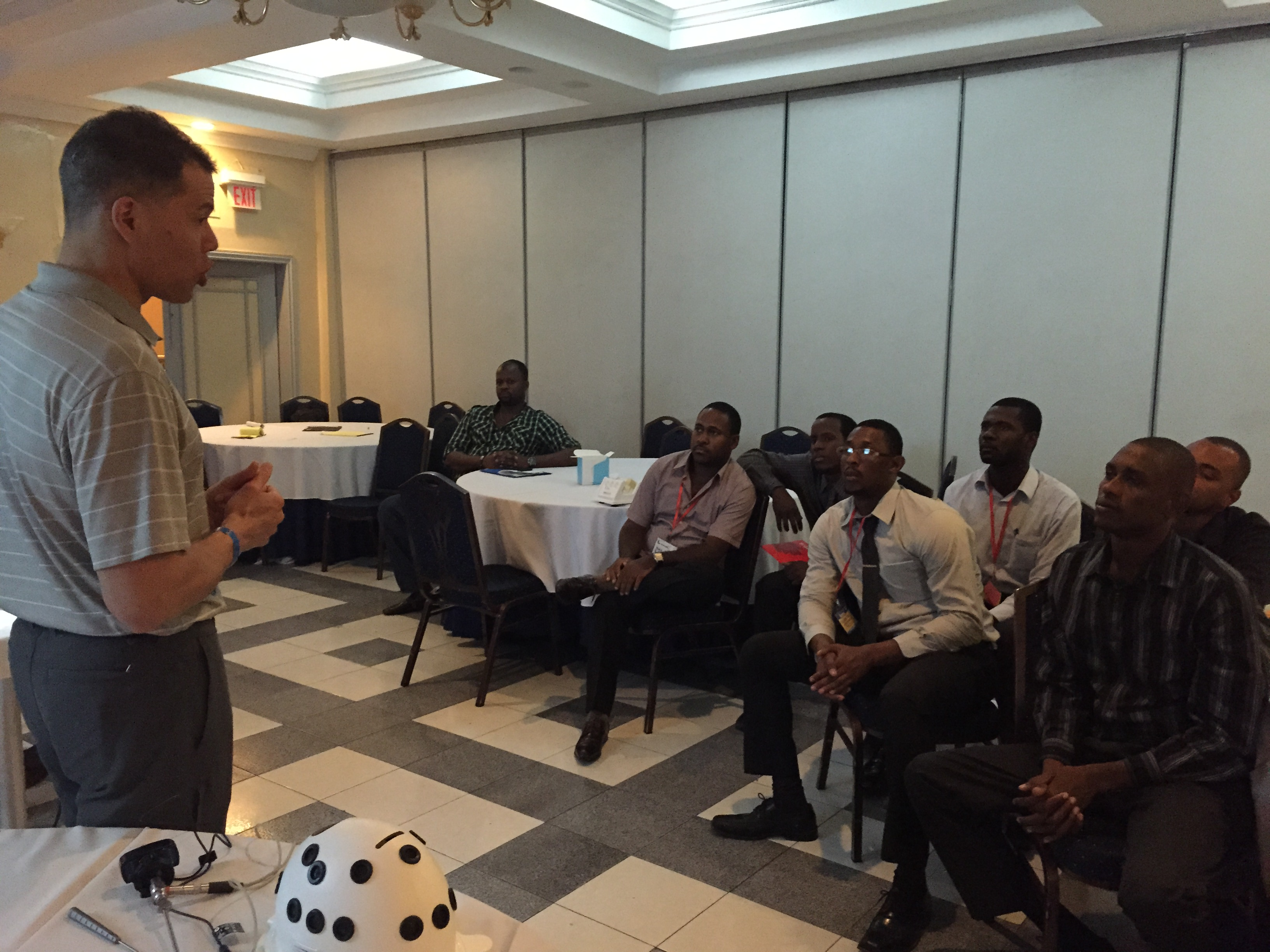Dr. George Dyer, an orthopedic surgeon at Brigham and Women's Faulkner Hospital, speaks in Haiti.